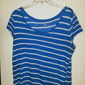 Blue Short Sleeve Top w/ White Stripes